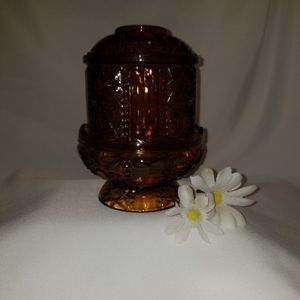 Vintage Indiana glass Co Amber Stars N Bars Fairy Lamp for Sale in Mesa, AZ
