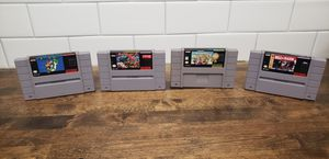 Super Nintendo games Super Mario Kart, Super Mario world, street fight II, Bulls vs Blazers for Sale in San Marino, CA