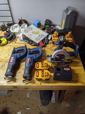 Cordless Ryobi saw kit with 2 newly rebuilt batteries, fast charger and bag for Sale in St. Clair Shores, MI