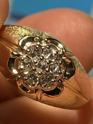 Absolutely gorgeous and stunning 14Kt solid yellow gold diamond ring size 12 for Sale in Miami, FL