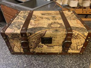 World map suitcase decorative storage box for Sale in Winfield, IL