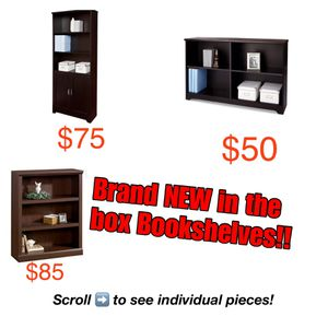 Brand new bookshelves in original packaging! (Scroll right to see more options) for Sale in Auburn, WA