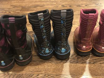 3 Darling Pairs Of Bog Snow/Rain Boots For Kids for Sale in Woodinville,  WA