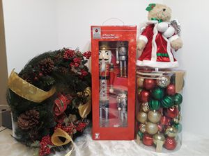 Christmas Decorations. Nutcracker Set, Wreath, Tree Topper and Ornaments for Sale in Houston, TX