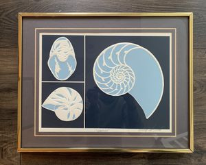 • vintage david allgood 1980 serigraph embossed signed shell nautilus gold framed • for Sale in Issaquah, WA