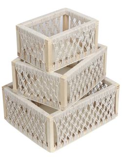 3 Macrame Decorative Storage Baskets (handmade) for Sale in Jersey City,  NJ
