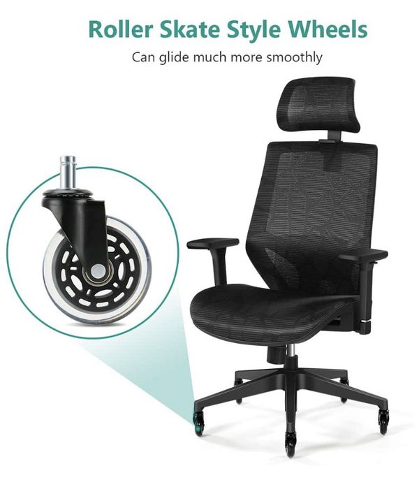 NEW High Back Mesh Office Chair with Adjustable Head & Arm Rest, Lumbar Support, Swivel Wheels