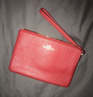 Coach Wristlet Wallet / Color: Red with Top Zipper and Gold Logo for Sale in West Park, FL