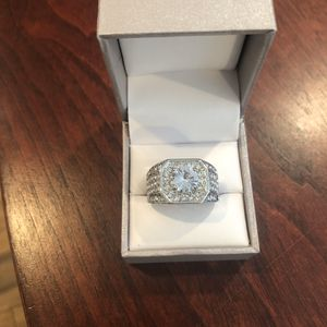 Men's Round Cut White Sapphire 925 Silver Men's ring size 10 with free gift box for Sale in San Jose, CA