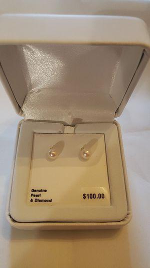 NWT 14K gold pearl diamond earrings for Sale in Parker, CO