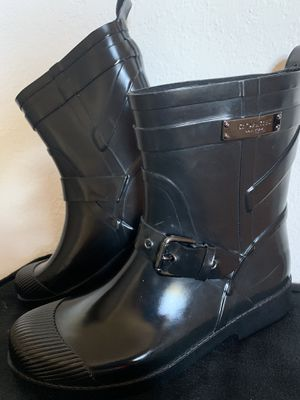 Rain boots black by Coach for Sale in Concord, CA