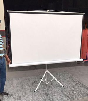 """Brand new 100"""" portable projector screen 16:9 ratio wide screen with tripod pull up matte white for Sale in West Covina, CA"""