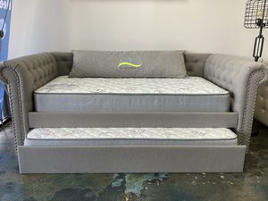 Light grey daybed frame with nailhead trim and trundle for Sale in Charlotte, NC