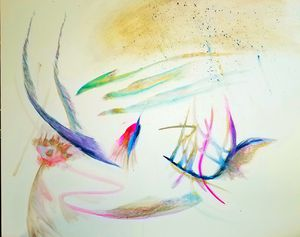 """""""The Swooping Hummingbird"""" 24x30 Gouache On Canvas for Sale in Charlottesville, VA"""