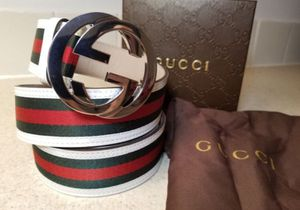 Gucci (Red/ Green) White Leather Belt Authentic for Sale in The Bronx, NY