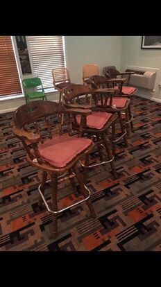 FOUR ANTIQUE WOOD BAR STOOLS GREAT CONDITION!