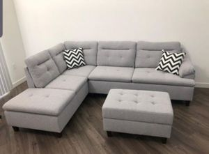 Brand New Grey Linen Sectional Sofa Couch +Storage Ottoman for Sale in Falls Church, VA