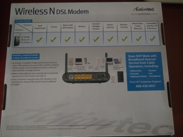 Actiontec wireless dsl modem and router