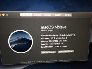 "Macbook pro retina 13"" 2014 16gb ram 256gb ssd 2.6ghz for Sale in Lauderhill, FL"
