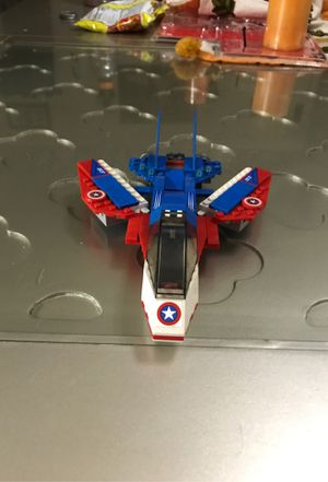 Captain America LEGO set figures not included shoots plastic shield DONT shoot at eyes for Sale in Anaheim, CA