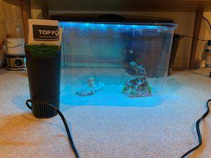 Multicolored 5 gallon fish tank, Topfin filter, food, statues for Sale in Cedar Mill, OR