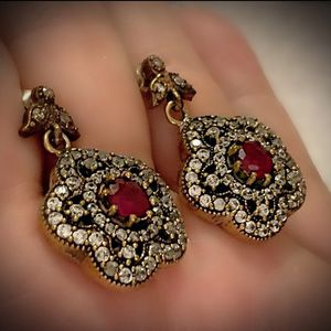 RUBY FLOWER FINE ART JEWELRY POST EARRINGS Solid 925 Sterling Silver/Gold WOW! Brilliant Facet Round Cut Gems, Diamond Topaz M6083 V for Sale in San Diego, CA