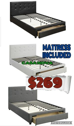 BRAND NEW BED FRAME QUEEN COMES IN BOX WITH MATTRESS INCLUDED $269📢📢📢📢📢AVAILABLE FOR SAME DAY DELIVERY OR PICK UP for Sale in Compton, CA