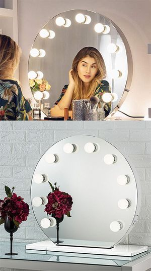 "(NEW) $210 Round 28"" Vanity Mirror w/ 10 Dimmable LED Light Bulbs, Hollywood Beauty Makeup USB Outlet for Sale in Whittier, CA"