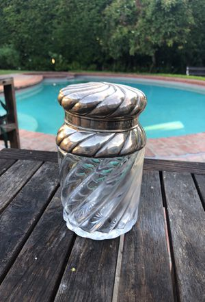Sterling silver heavy antique leaded glass gum ball jar for Sale in Beverly Hills, CA