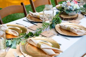 WEDDING HAUL! Chargers, napkin rings, runners, garlands, etc. for Sale in Jacksonville, NC