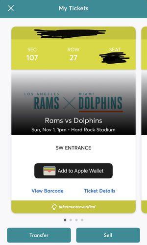 Miami Dolphins vs Los Angels Rams Tickets 11/1/20 for Sale in Hallandale Beach, FL