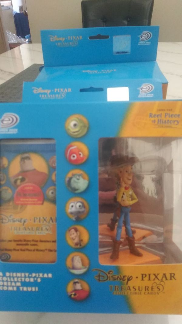 Collectible Woody toy story figure and cards