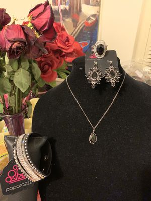 New necklace, bracelet, earrings and ring color silver with black stone for Sale in Santa Ana, CA
