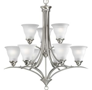 2 tier nine light brushed nickel Chandelier for Sale in Byron, GA