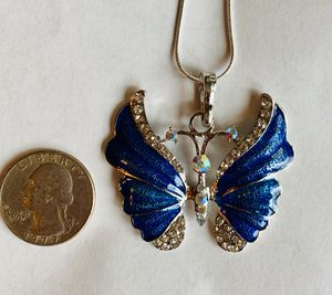"Jewelry necklace butterfly sparkly rhinestone electric blue 2"" silver with silver chain or leather cord! for Sale in Leominster, MA"