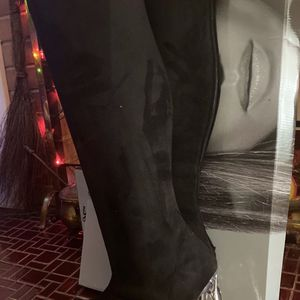 JLo Knee High Black Suede Translucent Heel for Sale in New Britain, CT