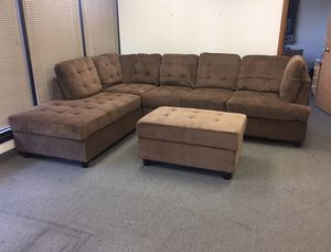 Brand New Brown Chenille Sectional Couch With Storage Ottoman And Pillows. Can Deliver Today! for Sale in Portland, OR