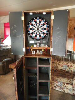 Spartan Woodwork dart board cabinet and RFID access concealed cabinet. Viper 1000 Bluetooth Dart board. Remote control 12 color lighting system. for Sale in Pillager, MN