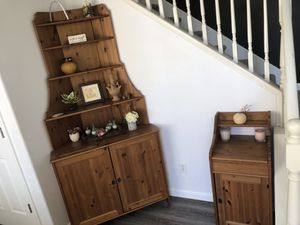 Solid wood set of corner display shelf/storage console, storage cabinet, and dining table for Sale in Tracy, CA