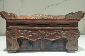 "12"" Antique China Beech Wood Qing Dynasty Dragon Carved Jewel Case ""Big Rich"" for Sale in Glendale, AZ"