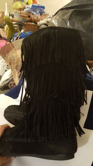 Hotcakes Black leather fringe boots size 5 for Sale in Greenville, SC