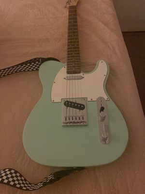 New Squier telecaster seafoam green, Two guitar straps one black and other checkered, back pack case brand new for Sale in San Gabriel, CA