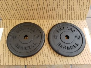 2 x 25 Lb Billiard Barbell Weight Plates for Sale in Bethel, CT