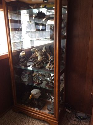 Glass cabinet with eagle collection for Sale in Parma Heights, OH