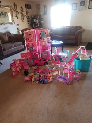 Barbie doll house, RV, Ship,Convertible car, Mall complete disassembled. 25 barbie's , clothes , furniture and accessories. 300.00 or best offer for Sale in Los Lunas, NM