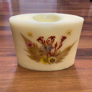 Wax Candle Holder with Dried Flower Inclusions for Sale in Waynesboro, VA