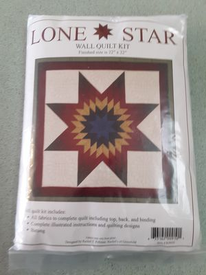 "BRAND NEW COMPLETE WALL QUILTING KIT. ""LONE STAR"" 22"" x 22"" COTTON EVERYTHING IS INCLUDED . FABRIC, TOP, BACK , for Sale in Milford, OH"