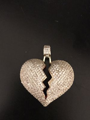 341ab135ce5 Iced out Gold plated cz diamond heartbreak chain pendant for Sale in  Chesapeake