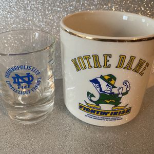 Pair Of Vintage Notre Dame Fightimg Irish 1988 Football Coffee Mug And 1961 Notre Dame Candlelight Formal Shot Glass for Sale in Surprise, AZ