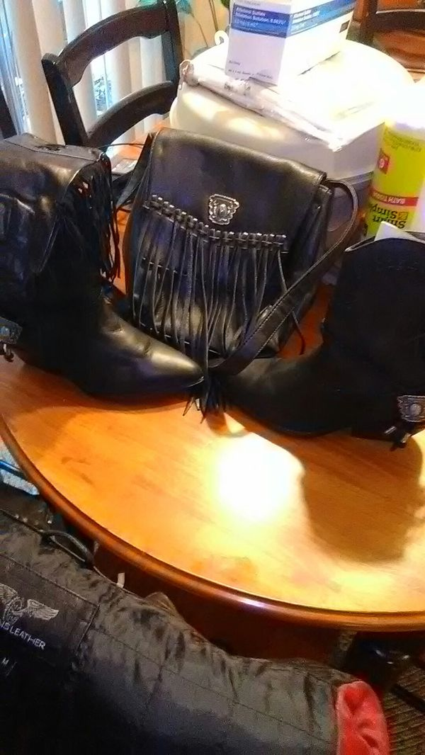 Brand New leather purse boots and Fringe gloves